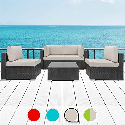 Strange Walsunny 5Pcs Patio Outdoor Furniture Sets All Weather Rattan Sectional Sofa With Tea Tablewashable Couch Cushions Black Rattan Khaki Pabps2019 Chair Design Images Pabps2019Com