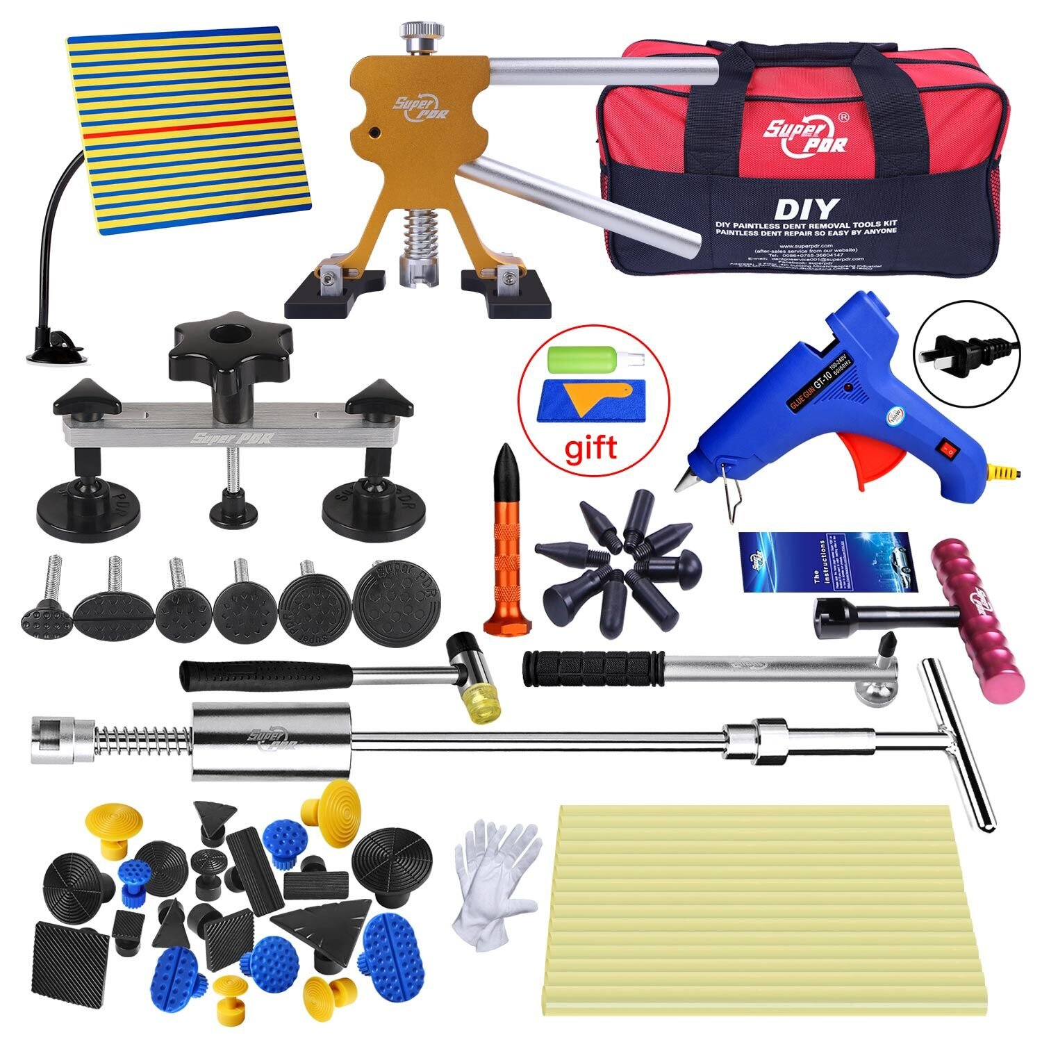 Fly5D Car Repair with Tools Bag Pops a Dent PDR Kit Gold Dent Lifter For Paintless Auto Dent Puller Car Body Auto Dent Removal Remover Tool Kits Equipment