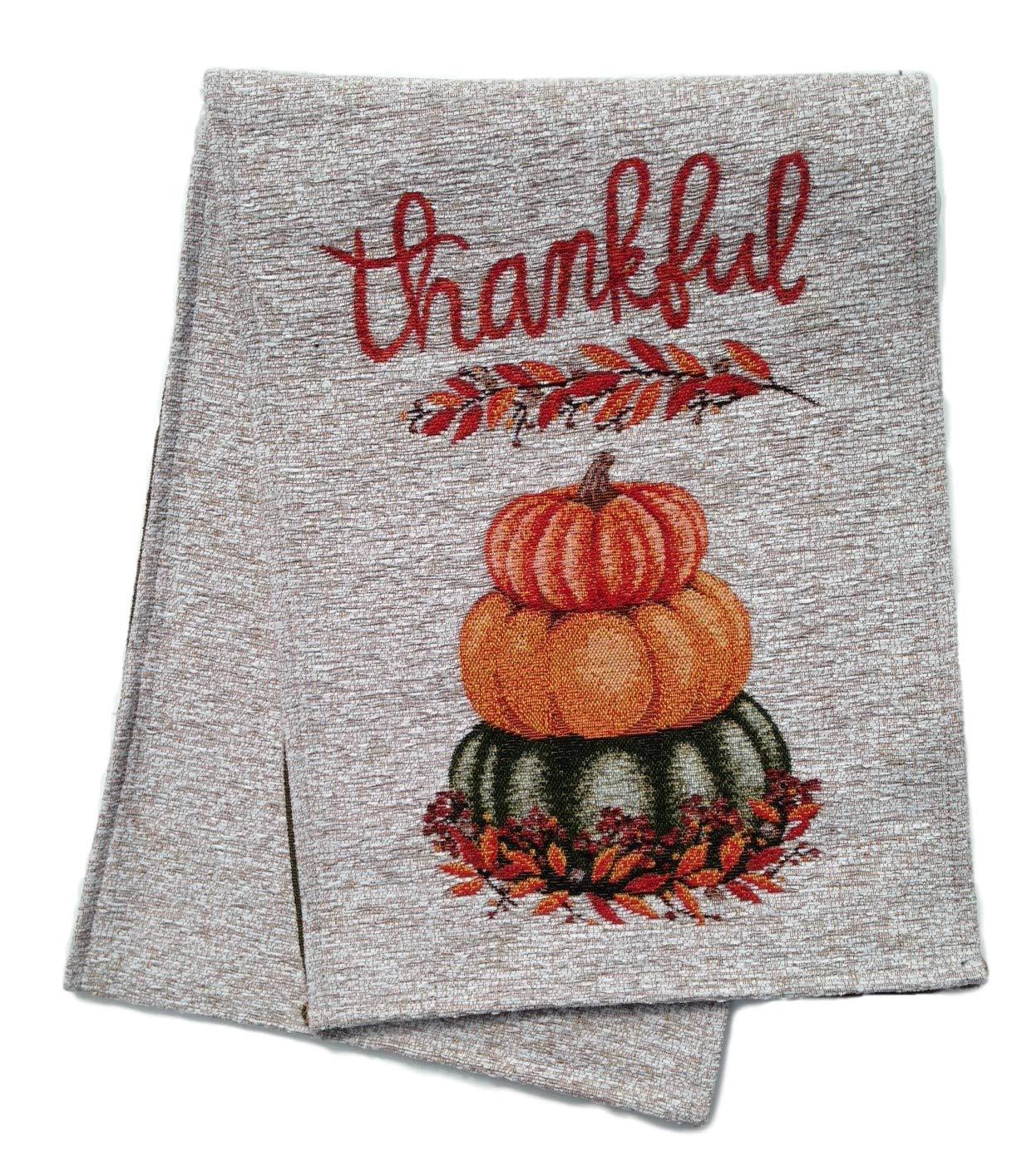 Autumn Radiance Thankful Pumpkin Table Runner, 13 x 72