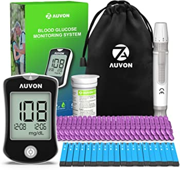 Auvon High-Tech Diabetes Blood Glucose Meter with 50 Test Strips