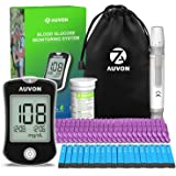 AUVON DS-W Blood Sugar Kit (No Coding Required), High-Tech Diabetes Blood Glucose Meter with 50 Test Strips, 50 30G…