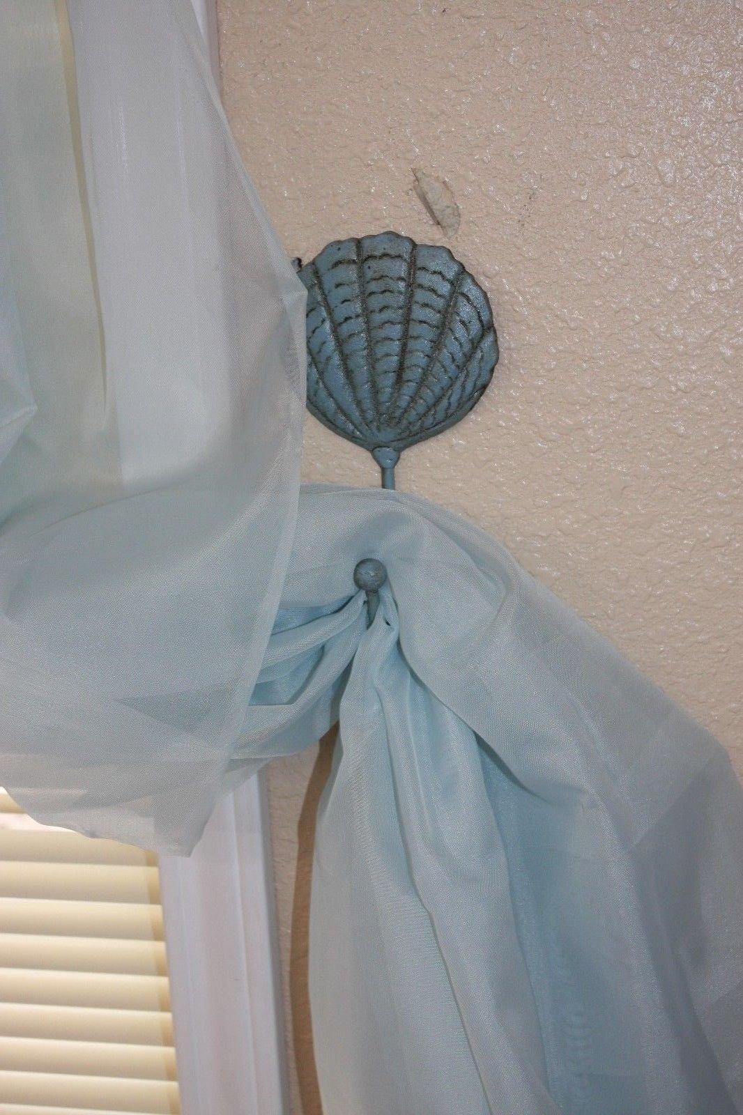 Set of 10 Seashell Design Curtain Tie Backs Hold Backs Cast Iron 7 inches tall Coastal Living Beach House Window Treatment, N-49a