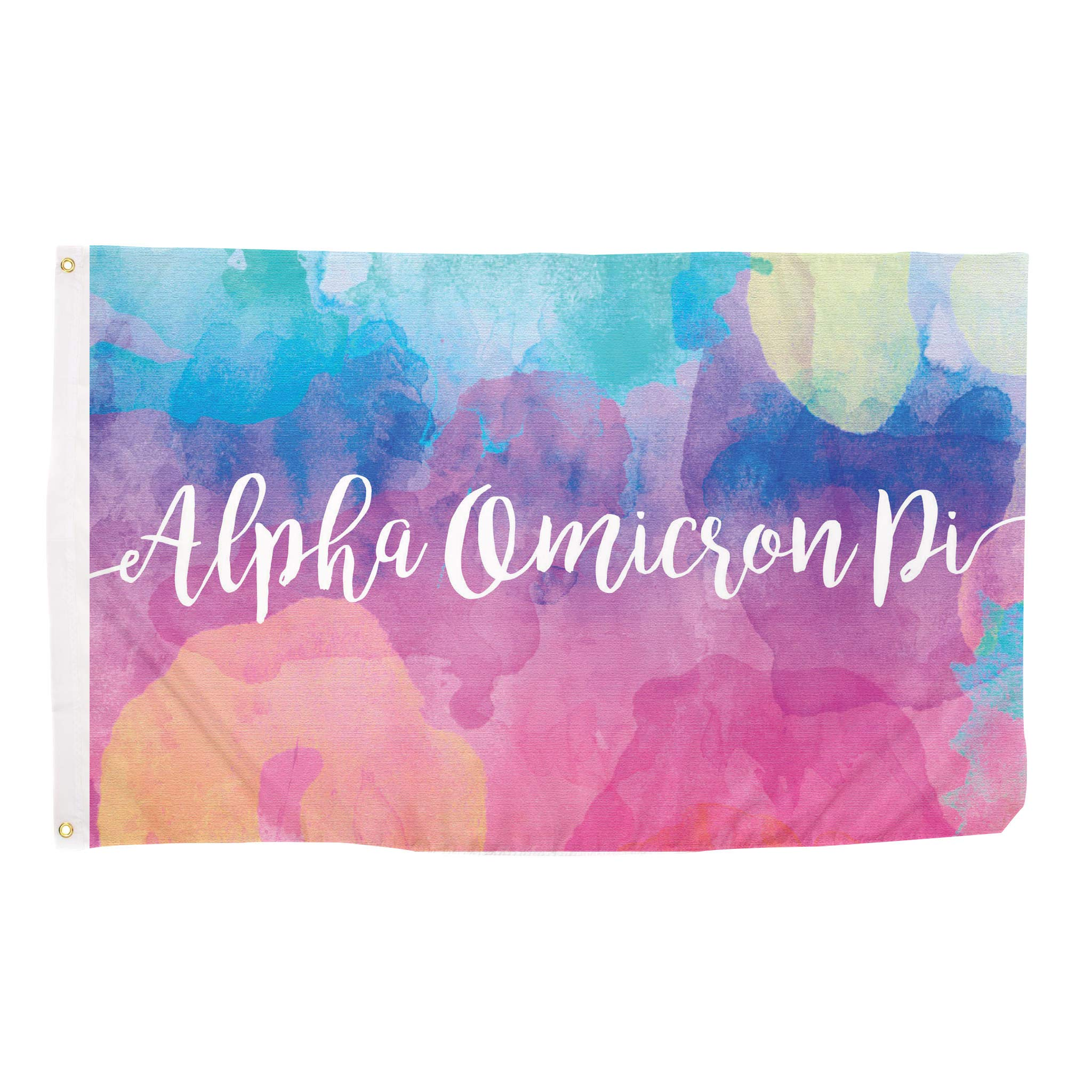 Alpha Omicron Pi Water Color Sorority Flag Greek Letter Use as a Banner Large 3 x 5 Feet Sign Decor AOII by Desert Cactus