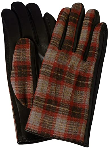 Check Wool Sheep Leather Gloves 1337-699-1033: Mid Brown