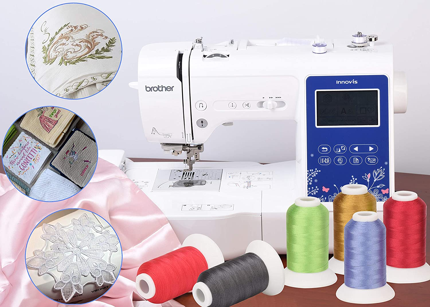 Simthread 60WT Sewing Embroidery Machine Thread Kit 40 Colors 1100 Yards Spool for Brother Janome etc sewing embroidery machines