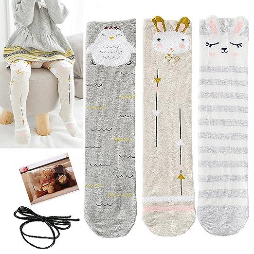 47d644e9e Image Unavailable. Image not available for. Color  Yaobabymu Unisex Baby Socks  Girls Knee High Socks Cotton Stockings Tube Socks Cartoon Animal ...