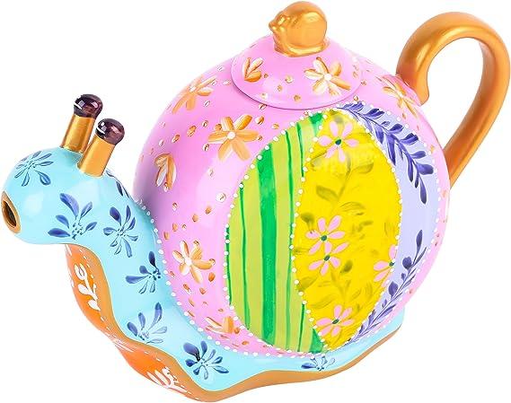 Artvigor, Cafetera de Porcelana Tetera Pintada a Mano 1,2 L, decoración de Caracol, Regalo: Amazon.es: Hogar