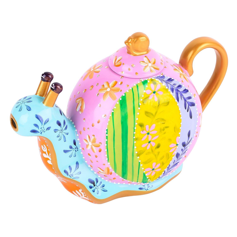 Artvigor Porcelain Hand Painted Snails Coffeepots Teapot Crafts,1200ml,Home Decoration