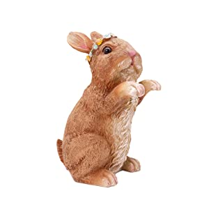 SASA Inc Solar Garden Animal Friend Garden Statue, Hand-Painted Resin Garden Creature with LED Lights (Rabbit)