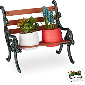 Relaxdays, Brown/Grey-Green Mini Bench, Wood & Cast Iron, Flower Holder for 2 Pots, Garden Decoration, 2 Halter