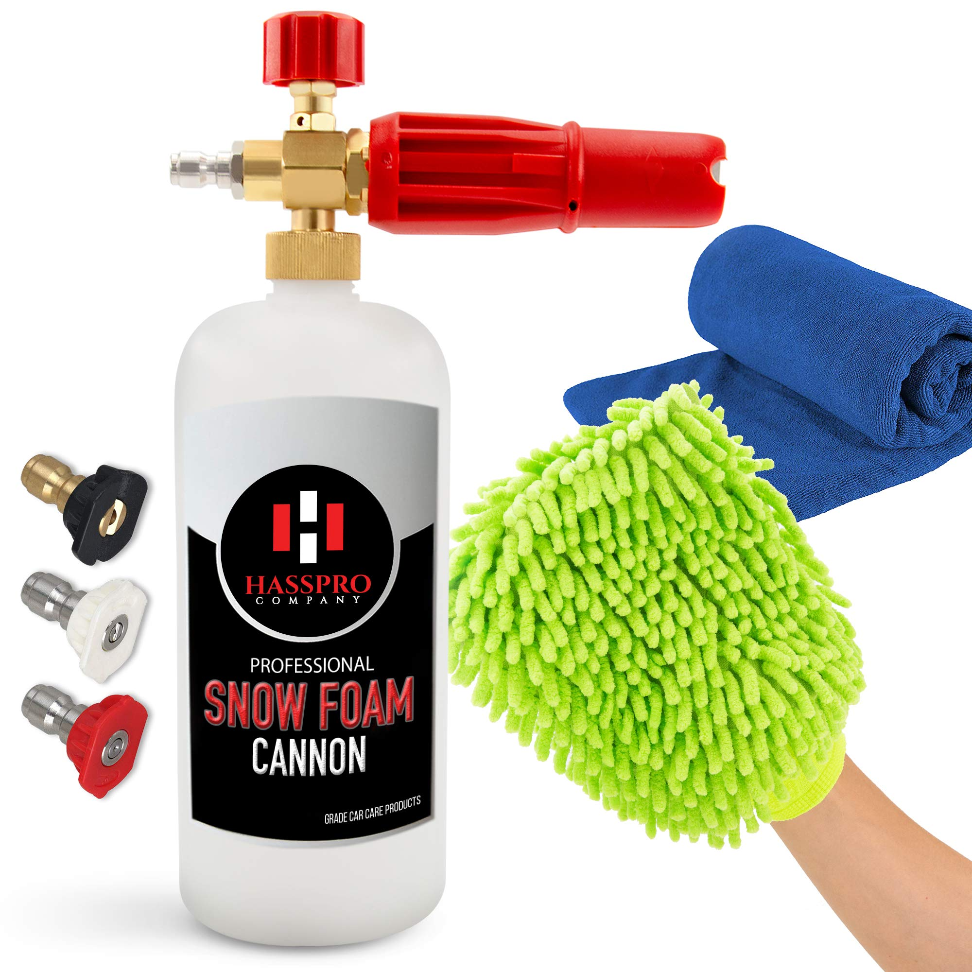 HassPro Foam Cannon Pressure Washer Gun - Premium Quality Foam Blaster 1LT Bottle with 1/4'' Heavy Duty Quick Connector Release - Top Snow Foam Lance Brass Knob - Comes with a Detail Car Cleaning Kit