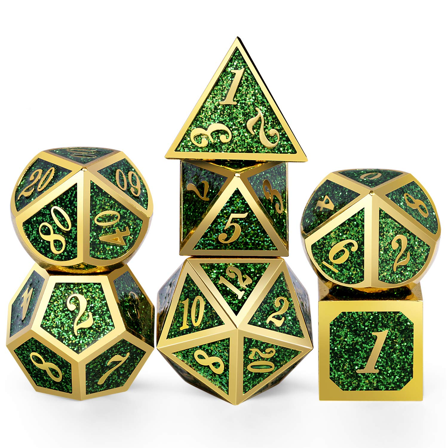 DNDND Metal Dice Set D&D,Glitter Green Heavy DND Dice with Free Metal Case for Role Playing Games Dungeons and Dragons by DNDND
