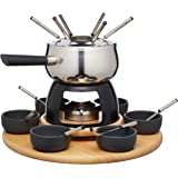 Artesà Deluxe Stainless Steel Swiss Fondue Set with Lazy Susan (22-Piece Party Kit)