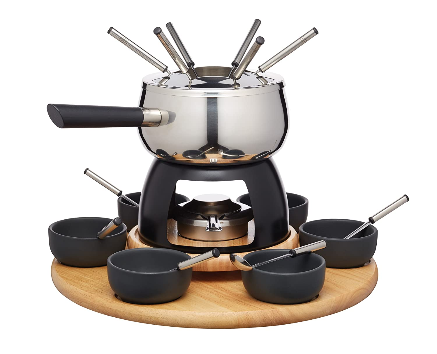 Artesà Deluxe Stainless Steel Swiss Fondue Set with Lazy Susan (22-Piece Party Kit) Kitchen Craft ARTFONPARTY