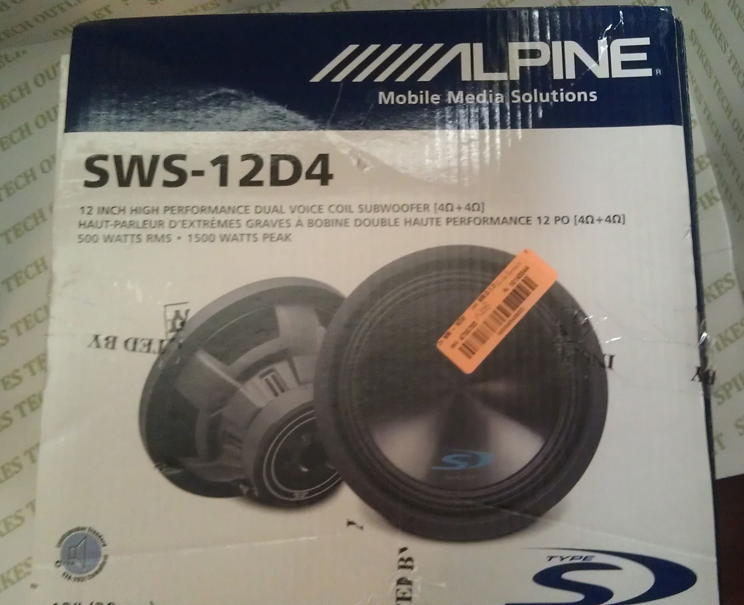 Alpine Type-S SWS-12D4 12'' Inch 1500 Watt Subwoofer WIth Massive Dual 4-Ohm Voice Coils, Fourth-Generation, More Bass In Less Space