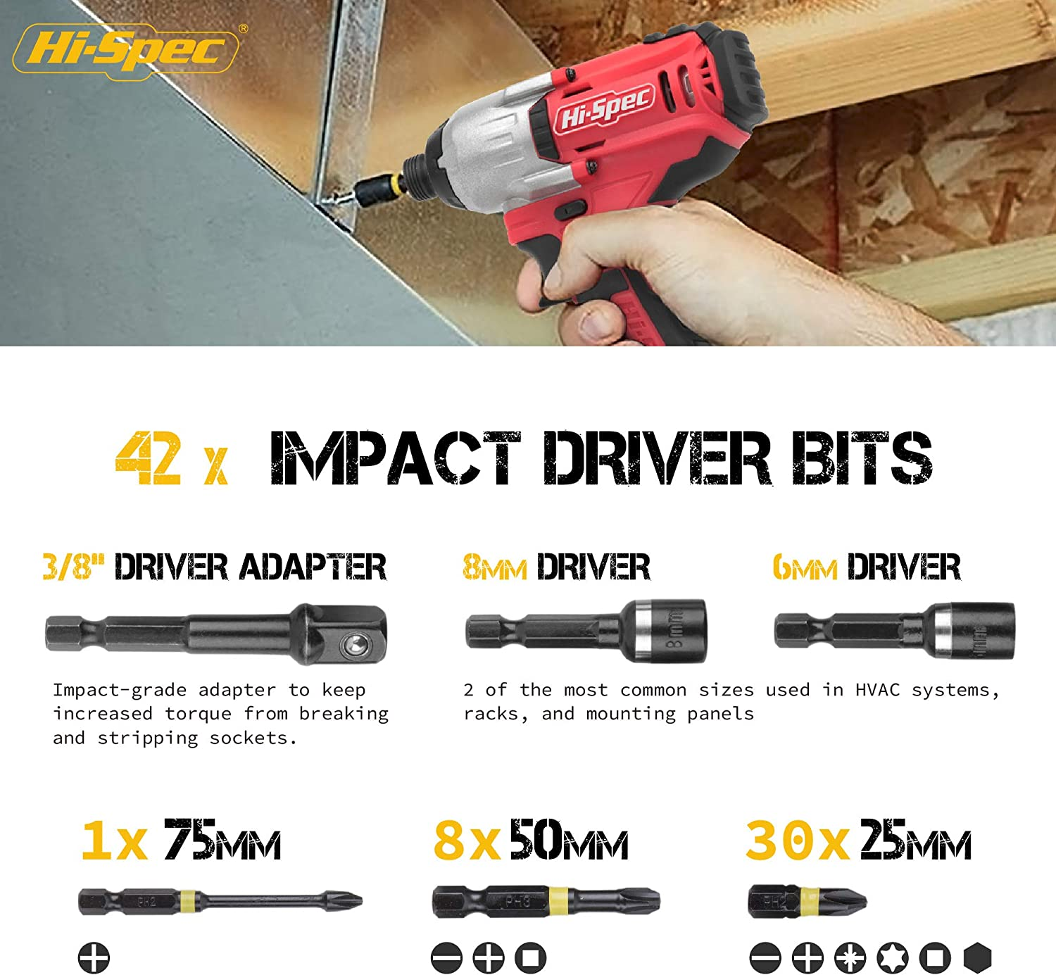 """Screwing /& Fastening Drill Driver Power Tool Accessories for DIY Repairs Installing Fixtures /& Fittings Hi-Spec 43 Piece 1//4/""""Hex Shank Impact Driver Screw Bits Set"""