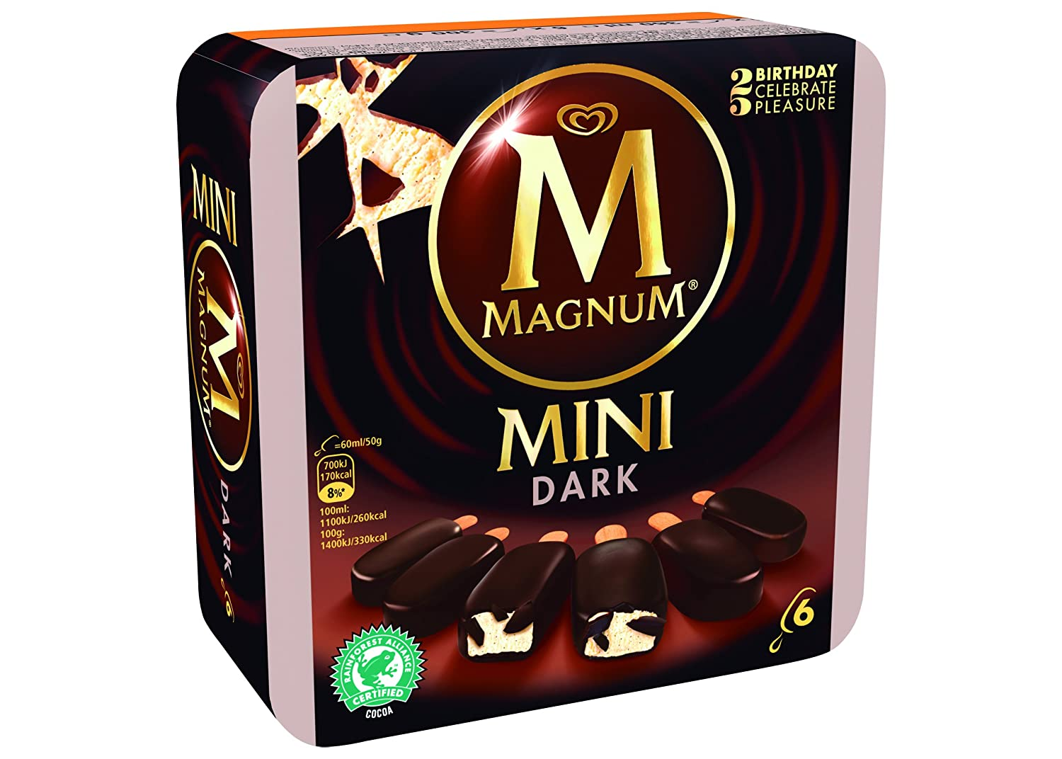 Magnum Mini Chocolate Negro Helado - Paquete de 6 x 60 ml ...