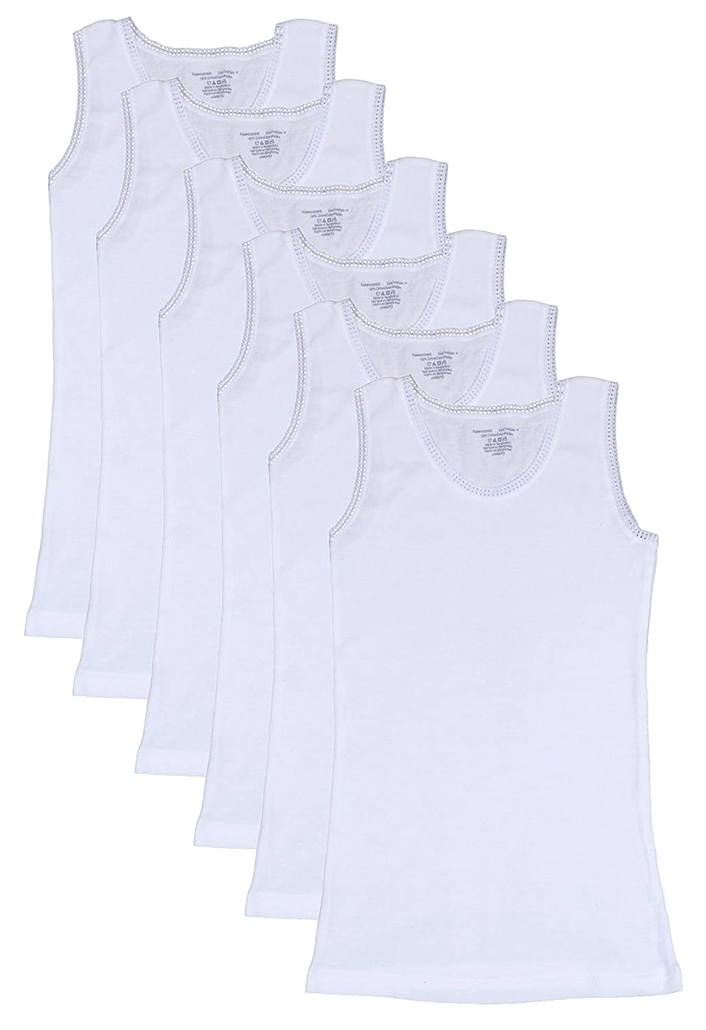 Sweet & Sassy Girls Undershirt Tank Top with Lace Trim (Pack of 6) White Small / 4-6 (Pack of 6)'