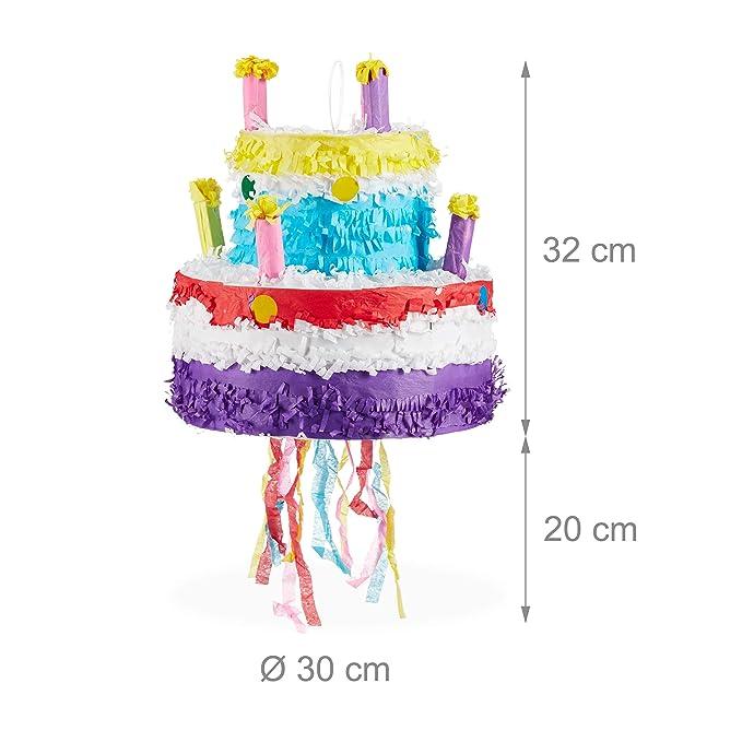 Relaxdays- Piñata Tarta de Cumpleaños sin Relleno, Papel, Colorida, 32 x 30 cm, Color (10025184)