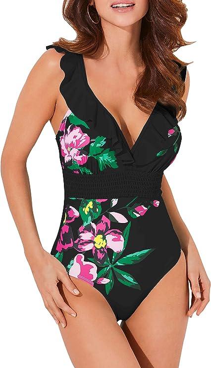Swimsuits for Women Fashion YunZyun Womens Swimming Costume Padded Swimsuit Monokini Swimwear Push Up Bikini Sets Multicolor, L