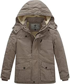 WenVen Boys and Girls Cotton Heavy Twill Hooded Jacket