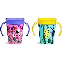 Munchkin Miracle 360 Wildlove Sippy Cup, 6 Oz, 2 Pack, Bee/Lemur