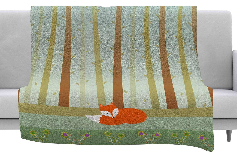 40 x 30 Fleece Blanket Kess InHouse Cristina Bianco Design Sleeping Fox Green Illustration Throw