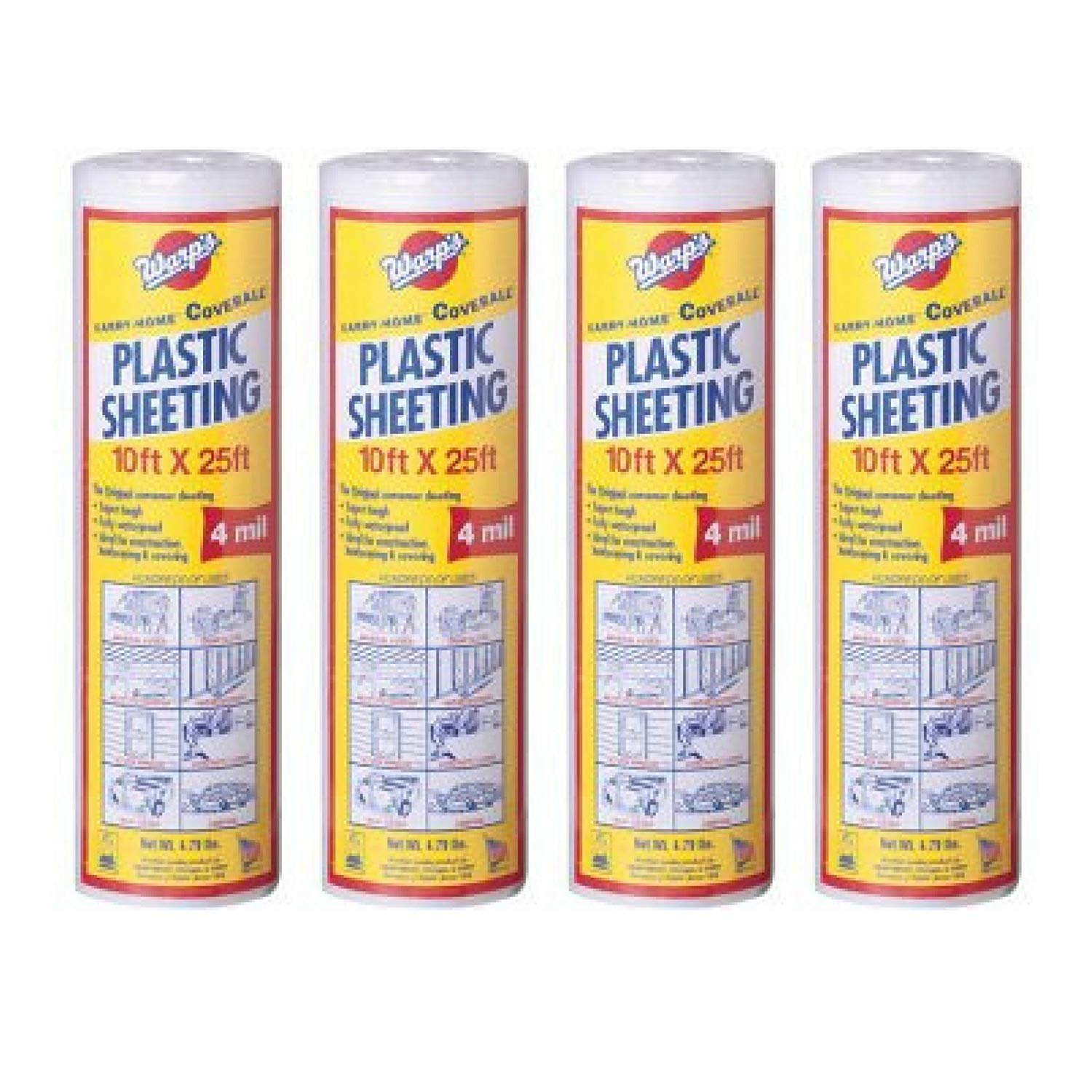 Warp Brothers SP-4CH10-C 10'' x 25' Clear Plastic Sheeting - 4 Pack