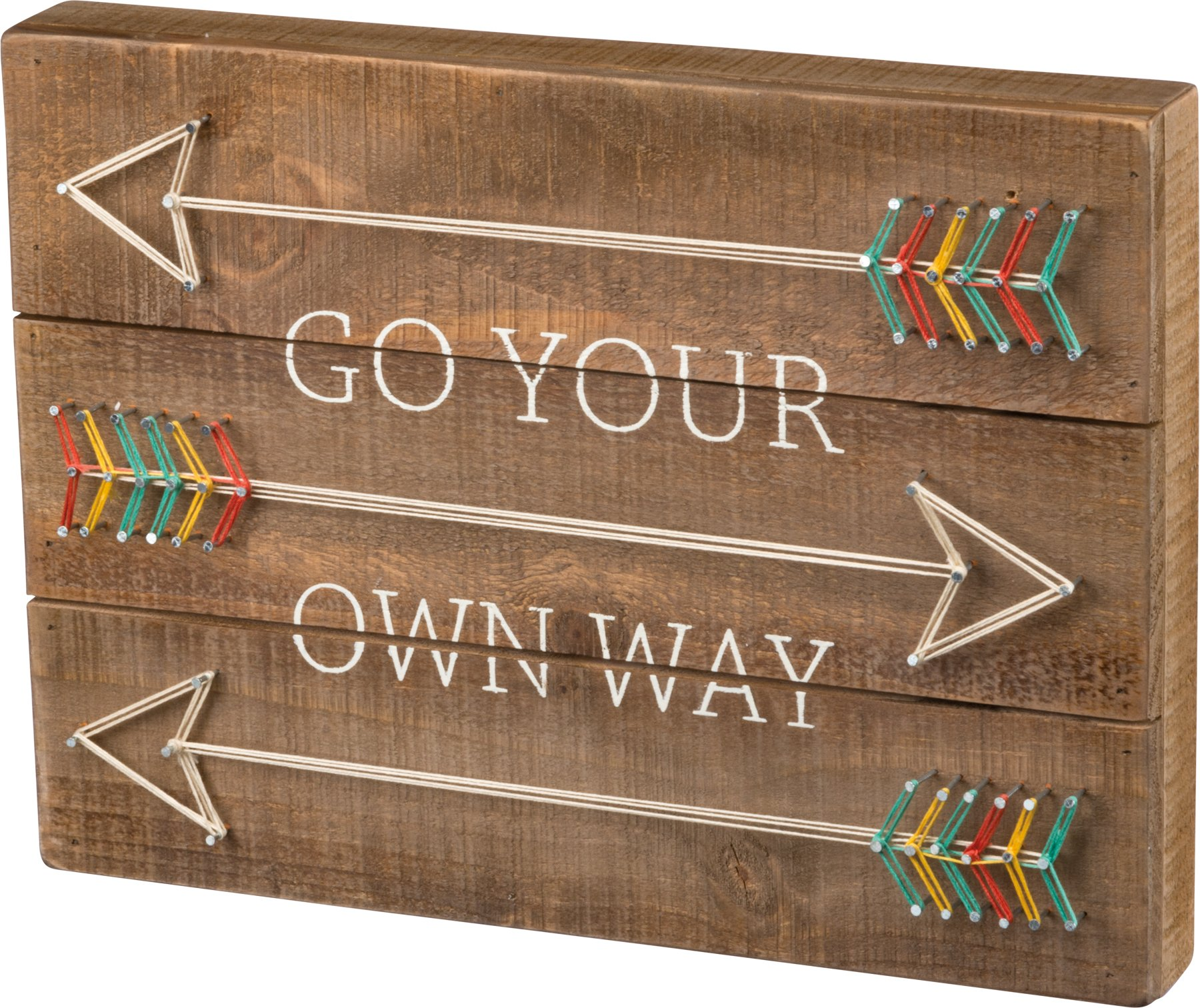 Primitives by Kathy Go Your Own Way String Art Sign with Arrows, Wood, 15'' x 11''