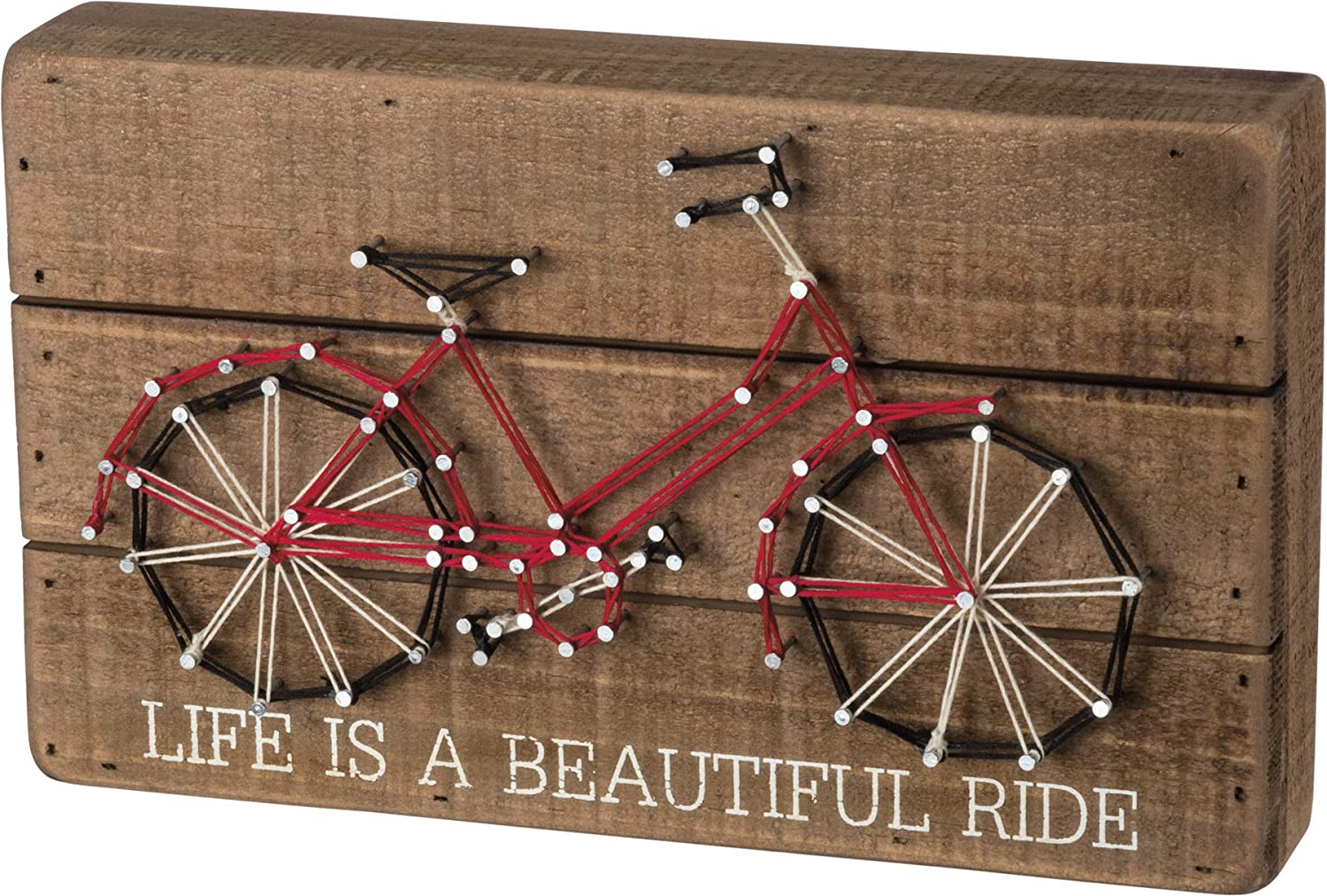 Primitives by Kathy 36354 String Art Wood Box Sign, 10 x 6-Inches, Life is A Beautiful Ride