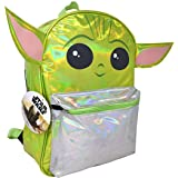 """Star Wars""""The Child"""" Baby Yoda 16"""" Backpack with Silver Foil & Shaped Ears"""