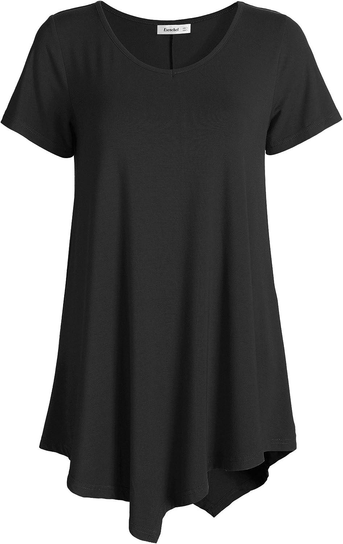 Esenchel Damen V-Ausschnitt Swing-Hemd Lässige Tunika-Oberteil für Leggings: Amazon.de: Bekleidung - Tunika Damen