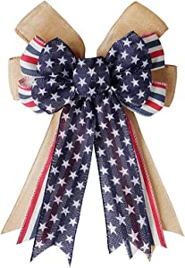 JANOU Patriotic Bow 4th of July Wreath Bow American Stripes Stars Holiday Fourth of July Wreath Bowknot Ornaments for Memorial Day Veterans Day Independence Day Party Decorations