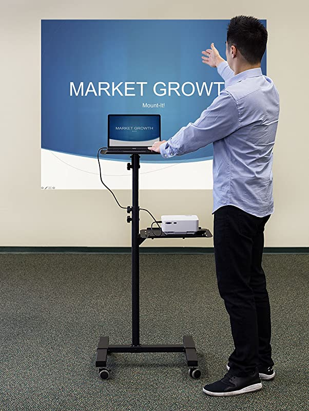 Mount-It! Mobile Projector and Laptop Stand (2 Shelves), Rolling Cart with Ventilated Tray, Heavy Duty, Height Adjustable Laptop and Projector Presentation Trolley