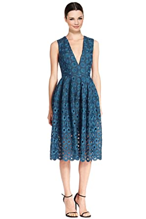 Nicholas Eyelet Lace Fit & Flare Cocktail Evening Dress
