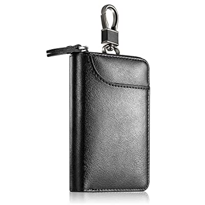 Genuine Leather Car Key case , Car Key Wallet Holder Keychain Holder Metal Hook and Keyring Coin Holder Zipper Wallet Bag for men women - black at Men's Clothing store