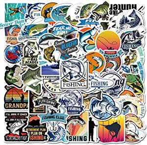 Fishing Stickers for Laptop Waterproof Vinyl Stickers for Water Bottle Computer Mac Pad Phone Case Hydro Flask Bumper Skateboard Luggage (Fishing)