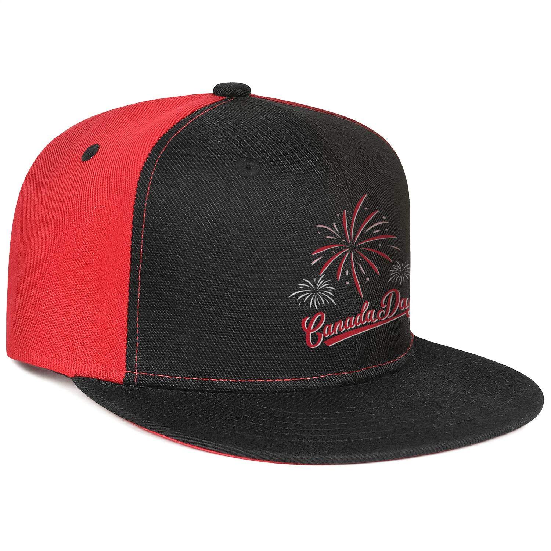 KYTKYTT Mens Women Mesh Trucker Cap Canada Day Fireworks Vector Snapback Brim Hats