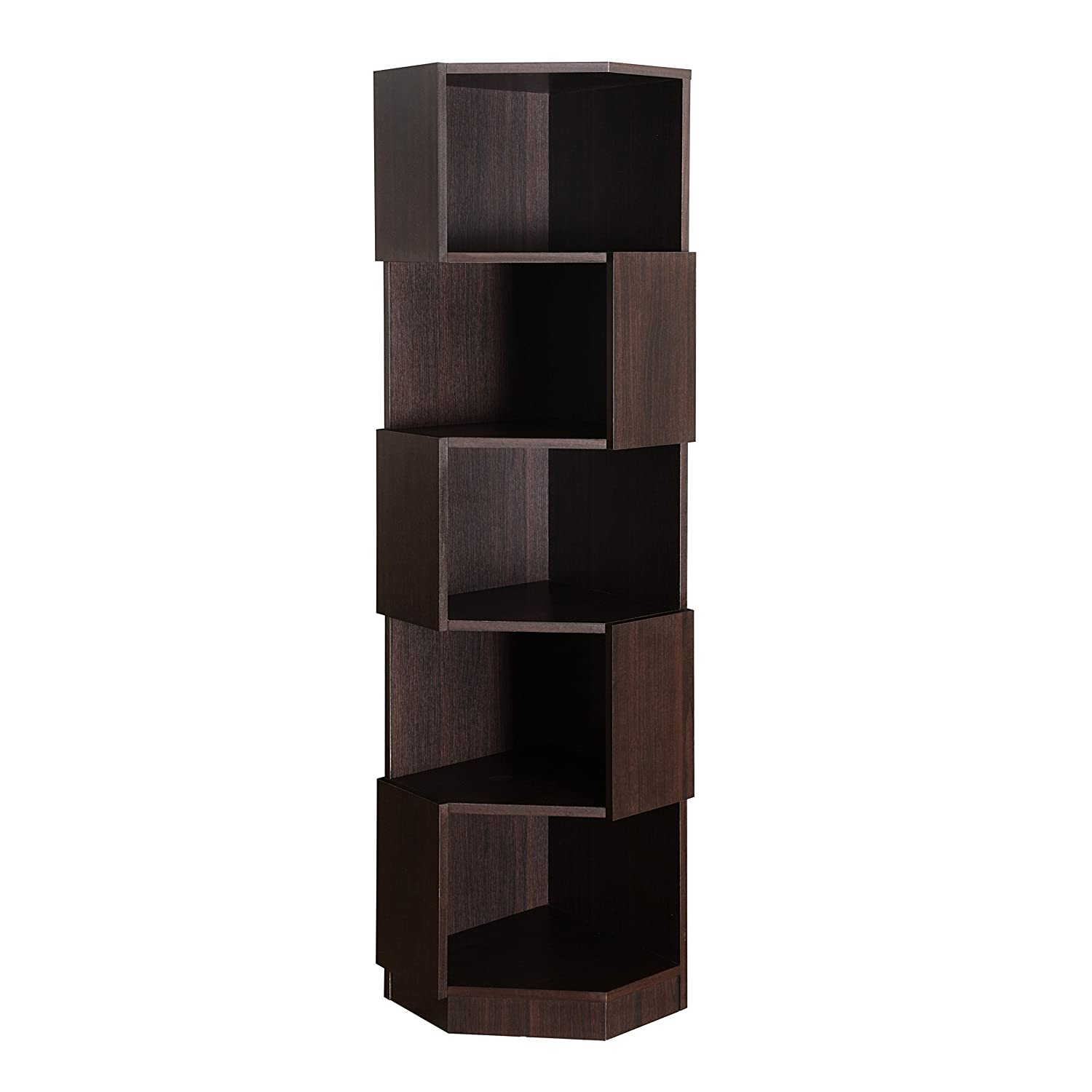 Design Zig Zag Bookshelf amazon com modern dark brown 5 shelf zig zag bookcase space saving corner display stand smart storage design perfect for living r