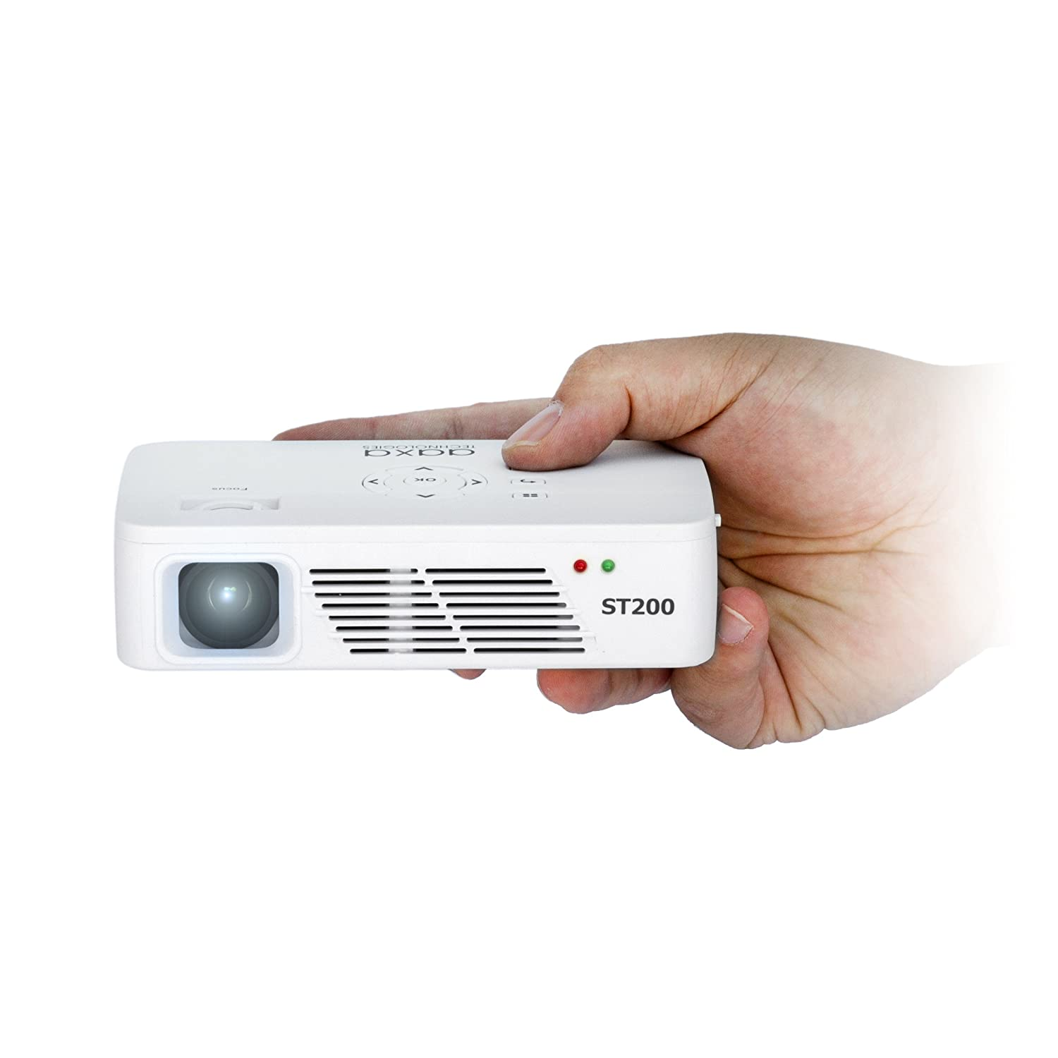 AAXA ST200 HD 1280 x 720 Resolution LED Pico Projector, 150 Lumens, Short Throw, 60 Minute Battery, 15,000 Hour LEDs - KP-350-01