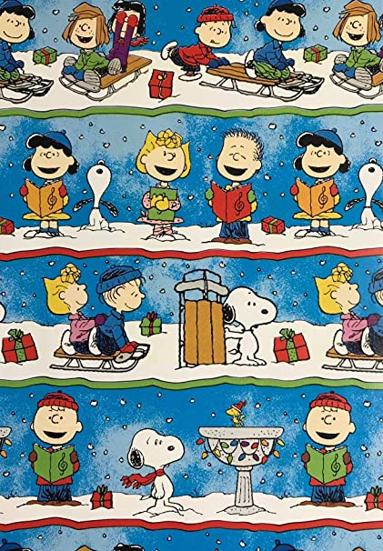 Amazon Com Charlie Brown The Gang Christmas Caroling Wrapping Paper Gift Wrap 3 33 Feet Wide 70 Square Feet Health Personal Care