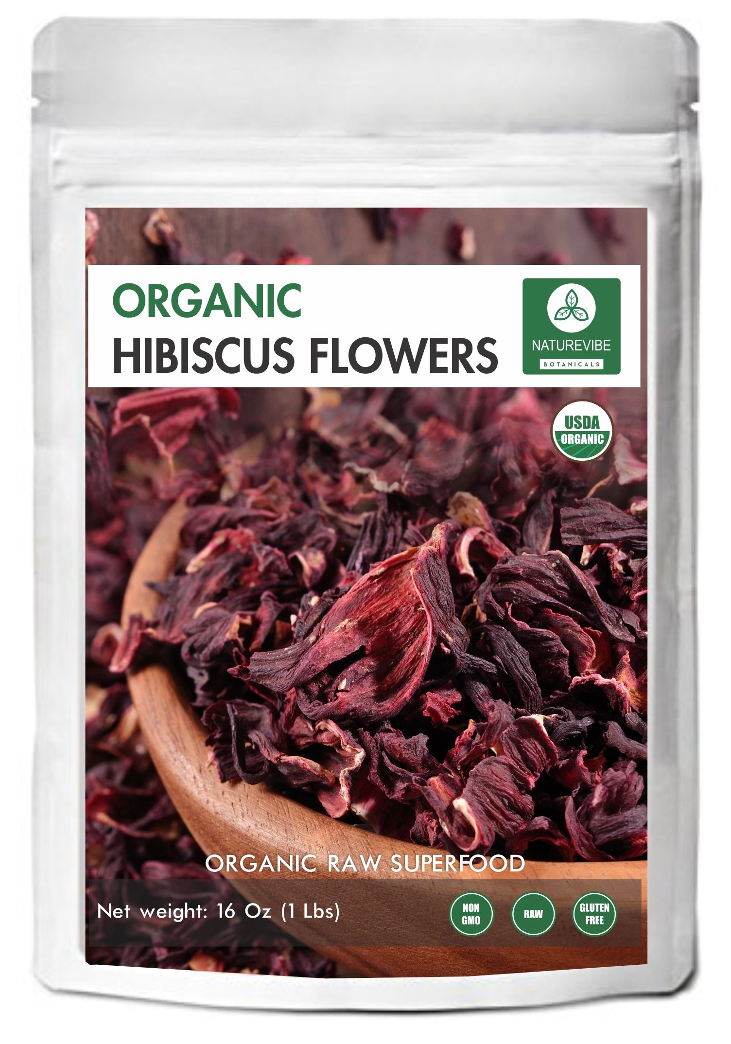 Organic Hibiscus Flowers - 16oz Resealable Bag - Indian Origin - by Naturevibe Botanicals (Packaging may vary)