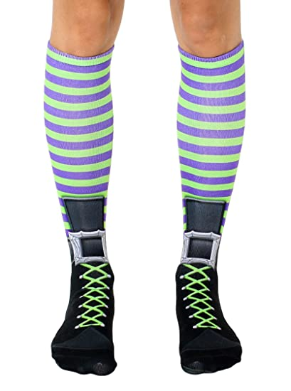 ede89eb44 Image Unavailable. Image not available for. Color  Witch Boot - Halloween  Print Knee High Costume Socks