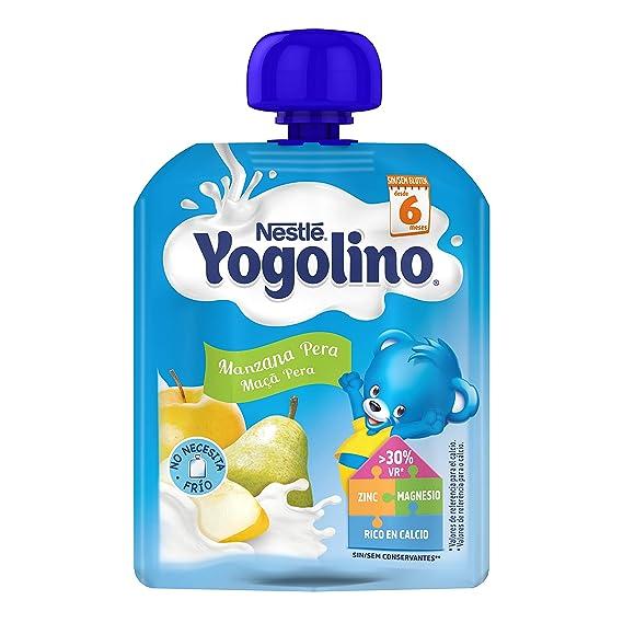 Nestlé Yogolino Postre lácteo Bolsitas con Manzana y Pera - Para bebés a partir de 6