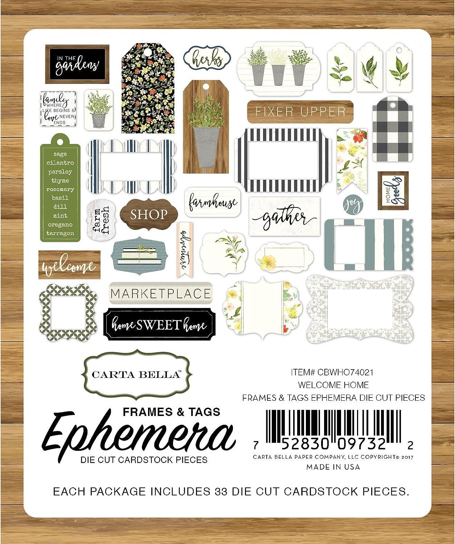 Carta Bella Paper Company Welcome Home Frames /& Tags Ephemera
