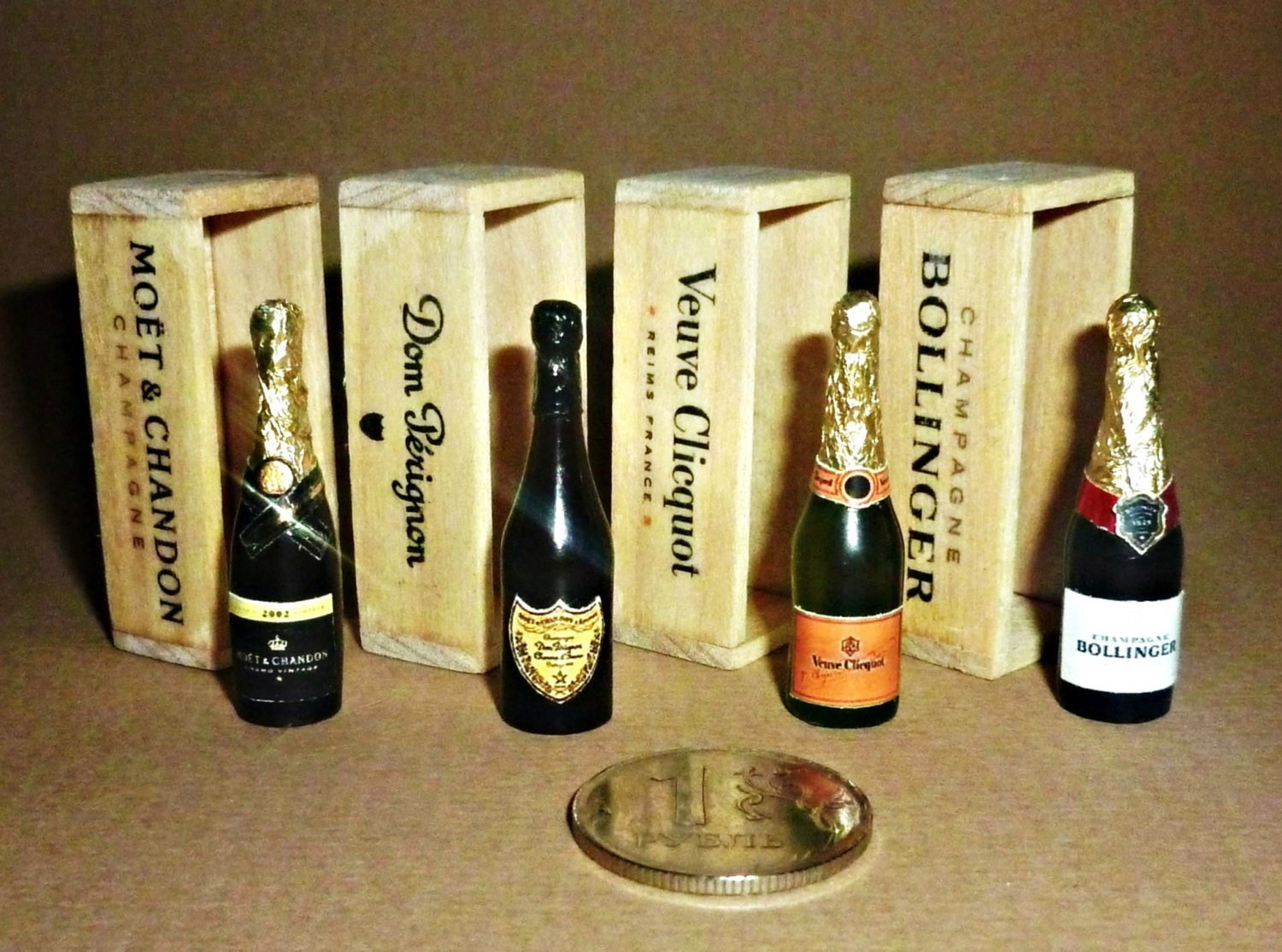 Dollhouse miniature 1:12 Champagne and wine. Champagne bottle in a wooden box.