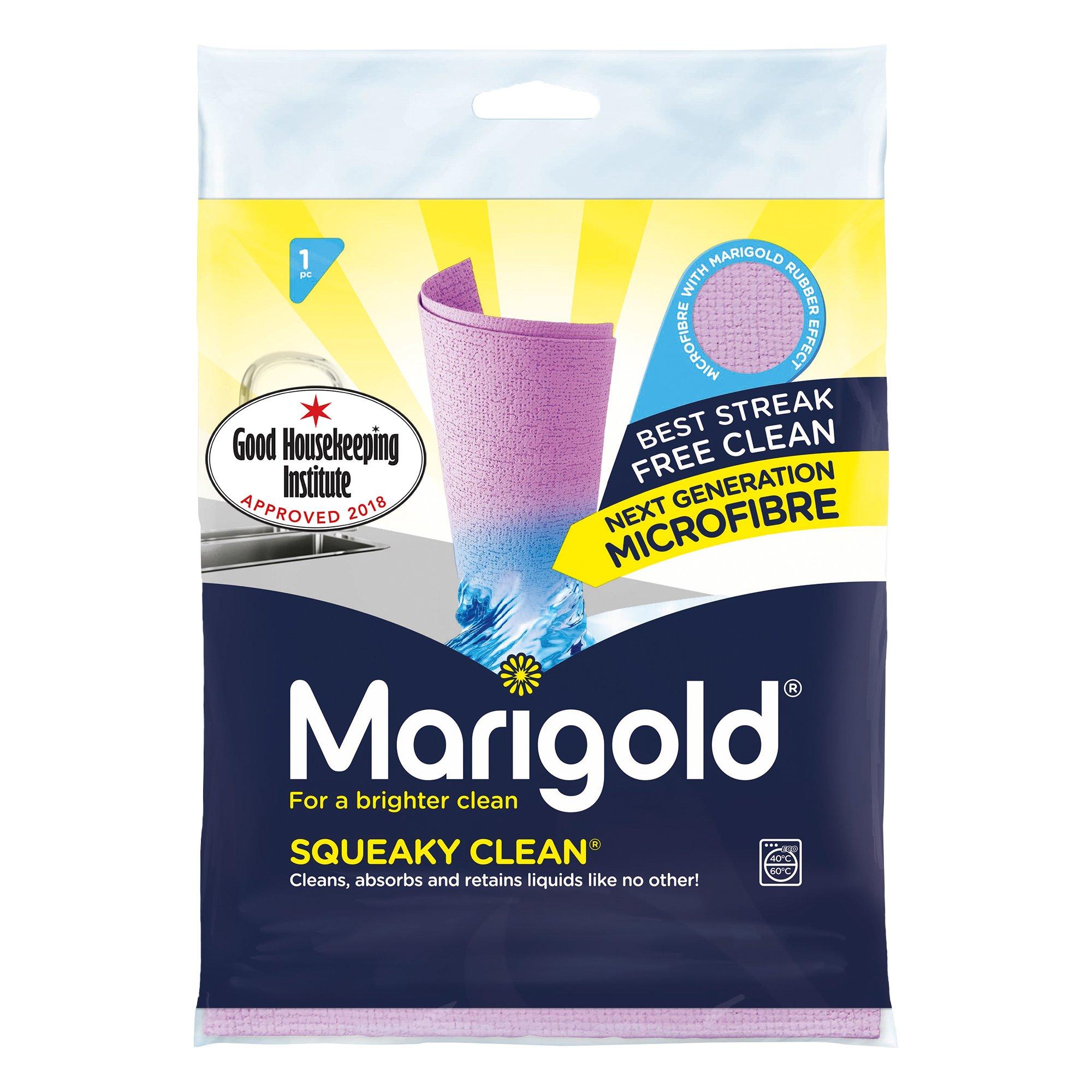 Marigold Squeaky Clean Microfibre Streak Free Cloth, 25 Single Packs
