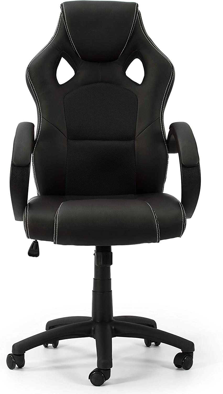 VS Venta-stock Sillón de Oficina elevable y reclinable Hamilton tapizado con Piel sintética y Tela de Rejilla, Color Negro y Negro, reposabrazos Acolchado