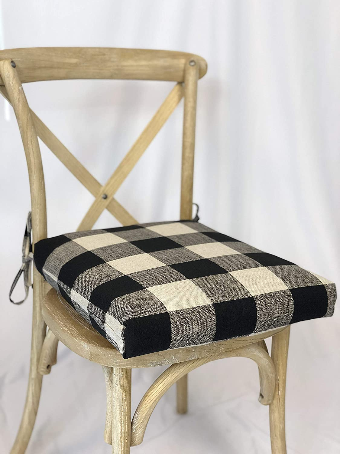 Chair Cushion Pad, with Buffalo Check themed fabric, seat cushion with ties  and removable foam insert Farmhouse Chair Cushions