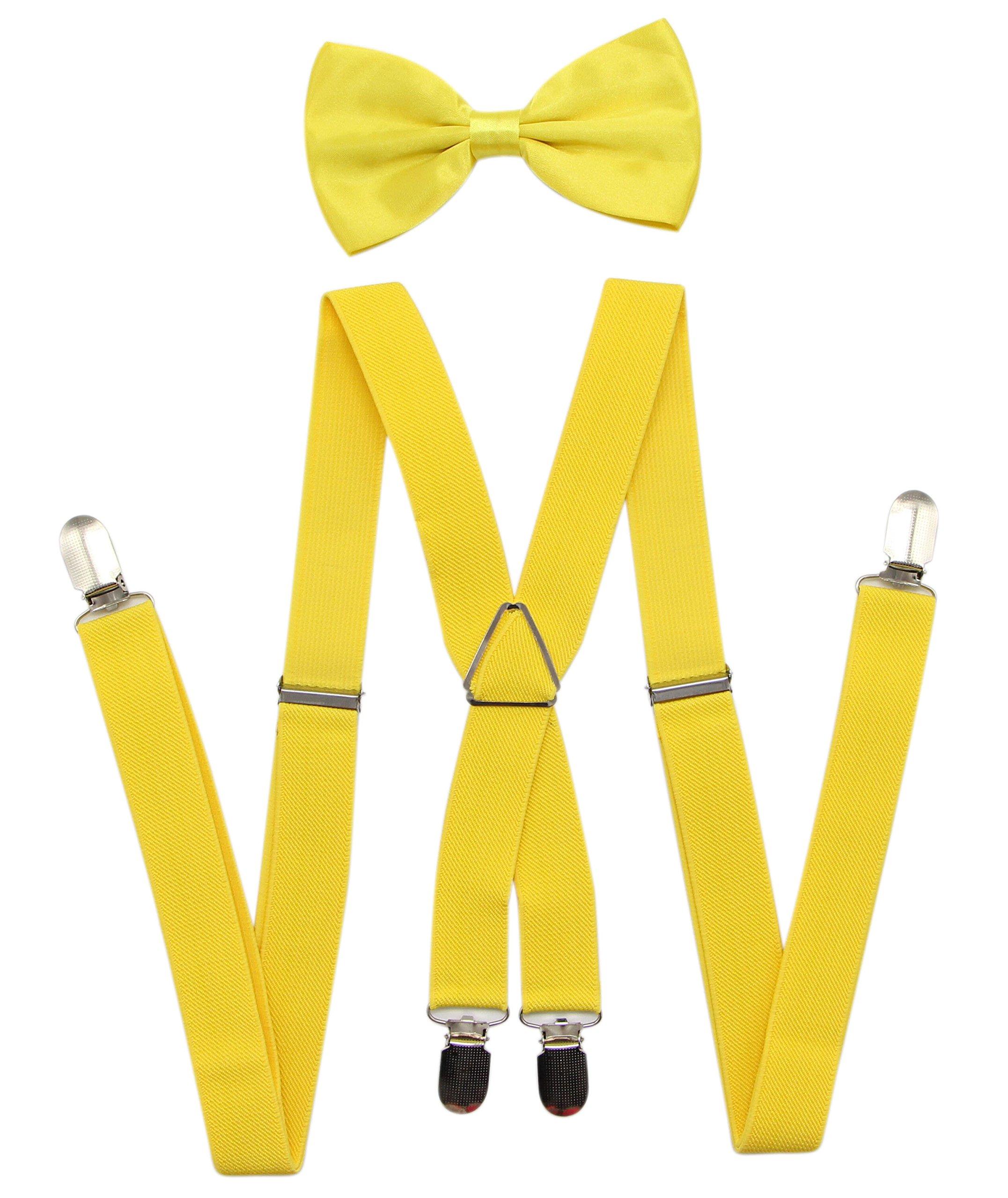 JAIFEI Men's Suspenders & Bowtie Set - Perfect For Weddings & Formal Events (Yellow)
